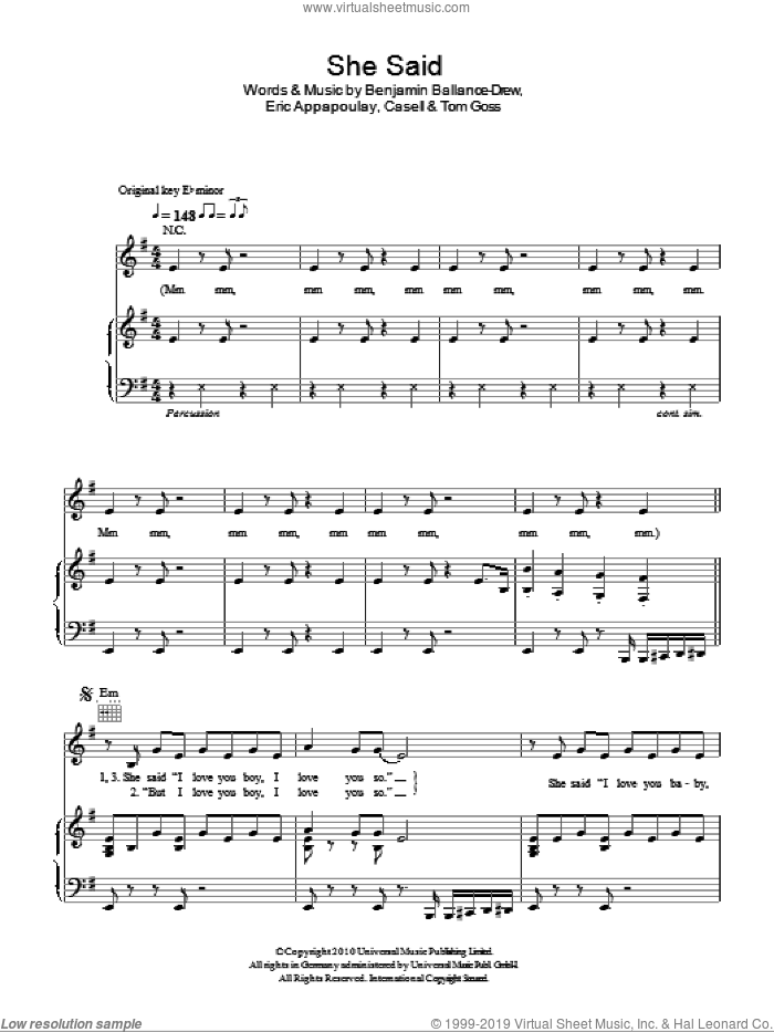 She Said sheet music for voice, piano or guitar by Plan B, Benjamin Ballance-Drew, Casell, Eric Appapoulay and Tom Goss, intermediate skill level