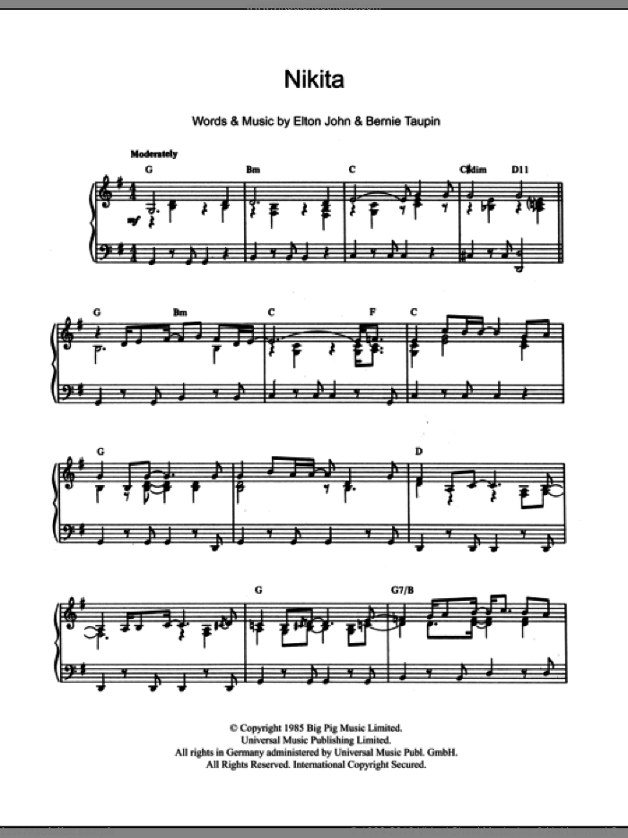 Nikita, (intermediate) sheet music for piano solo by Elton John and Bernie Taupin, intermediate skill level