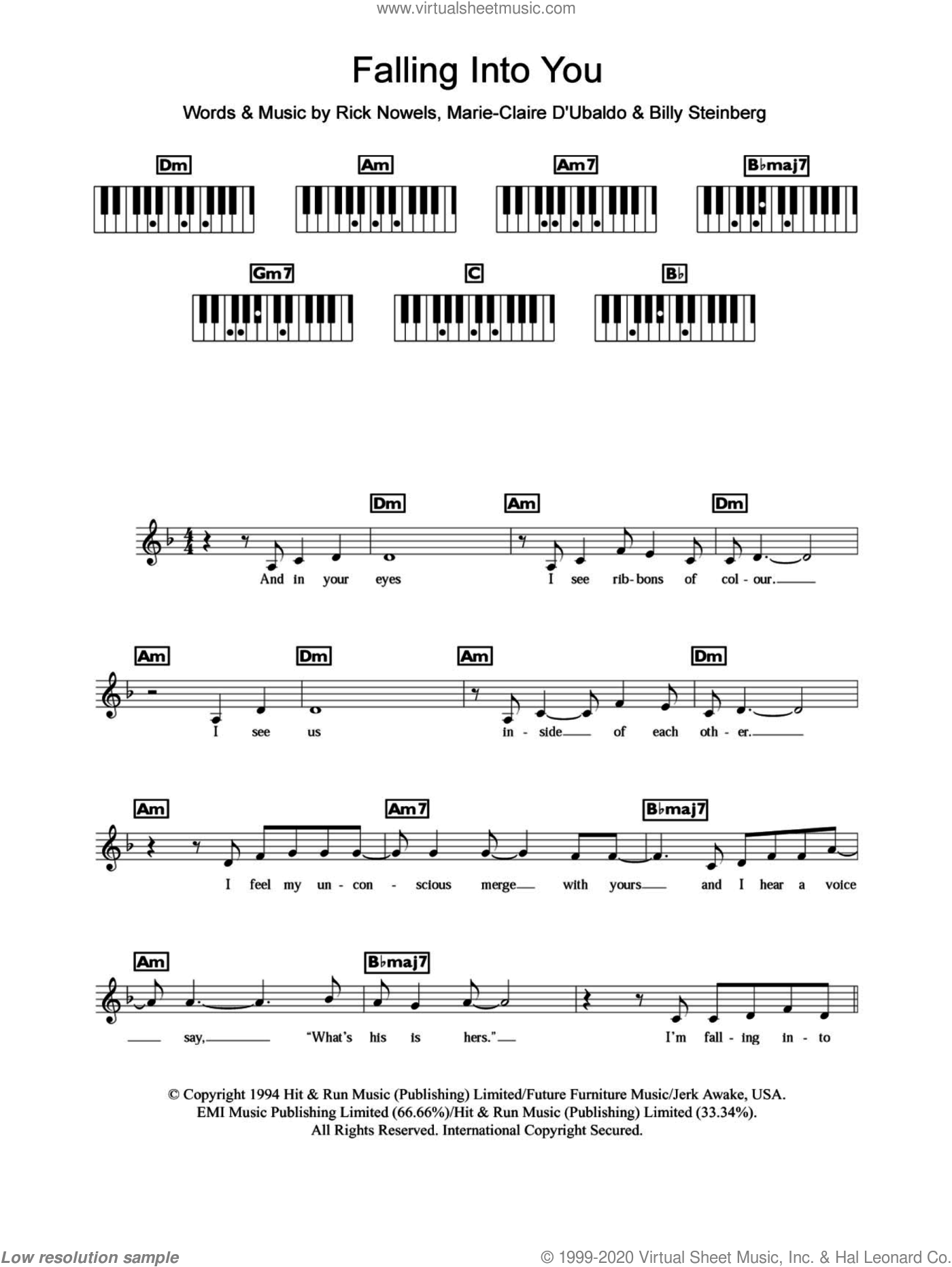 Falling Into You sheet music for piano solo (chords, lyrics, melody) by Rick Nowels, Celine Dion and Billy Steinberg