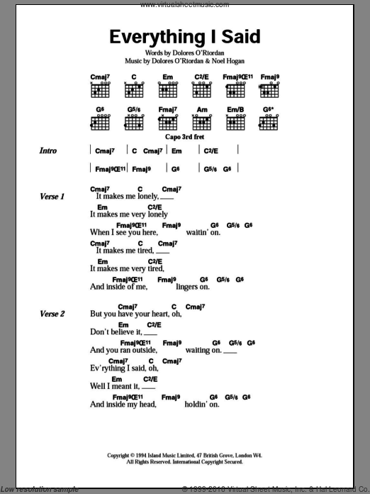 Everything I Said sheet music for guitar (chords) by Noel Hogan