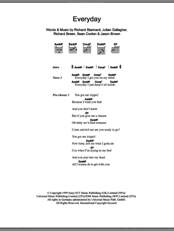 Everyday sheet music for guitar (chords) by Sean Conlon