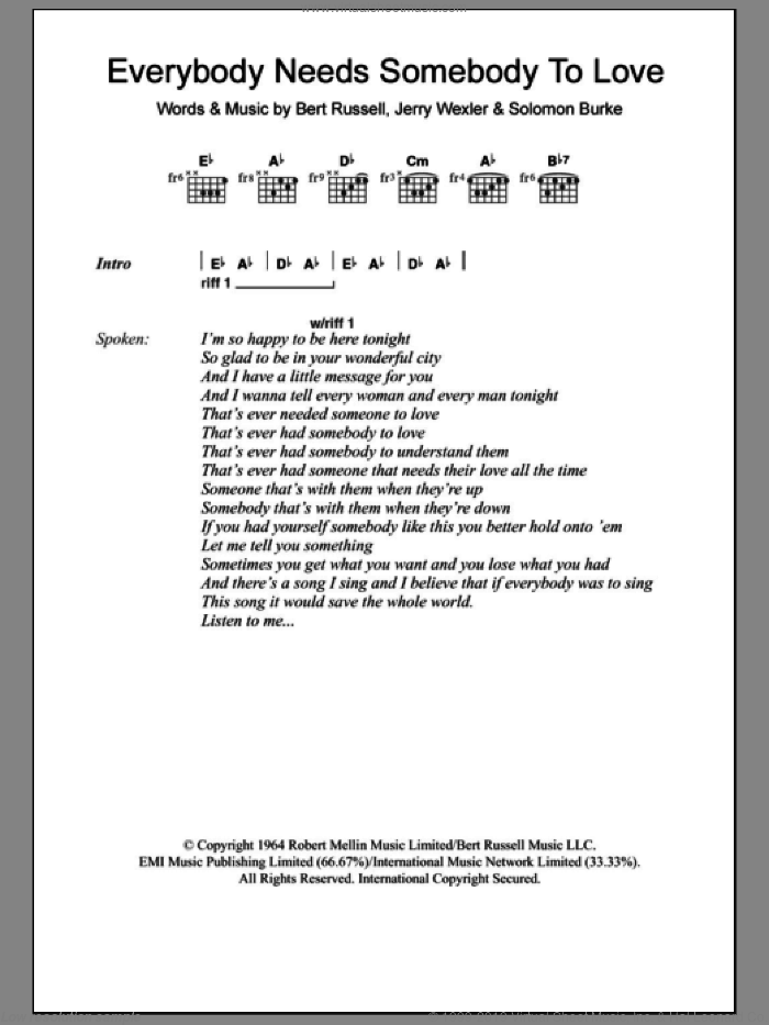 Everybody Needs Somebody To Love sheet music for guitar (chords) by Jerry Wexler, Bert Russell and Solomon Burke. Score Image Preview.