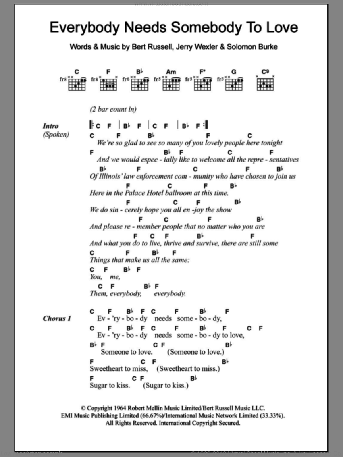 Everybody Needs Somebody To Love sheet music for guitar (chords) by Solomon Burke, Bert Russell and Jerry Wexler, intermediate skill level