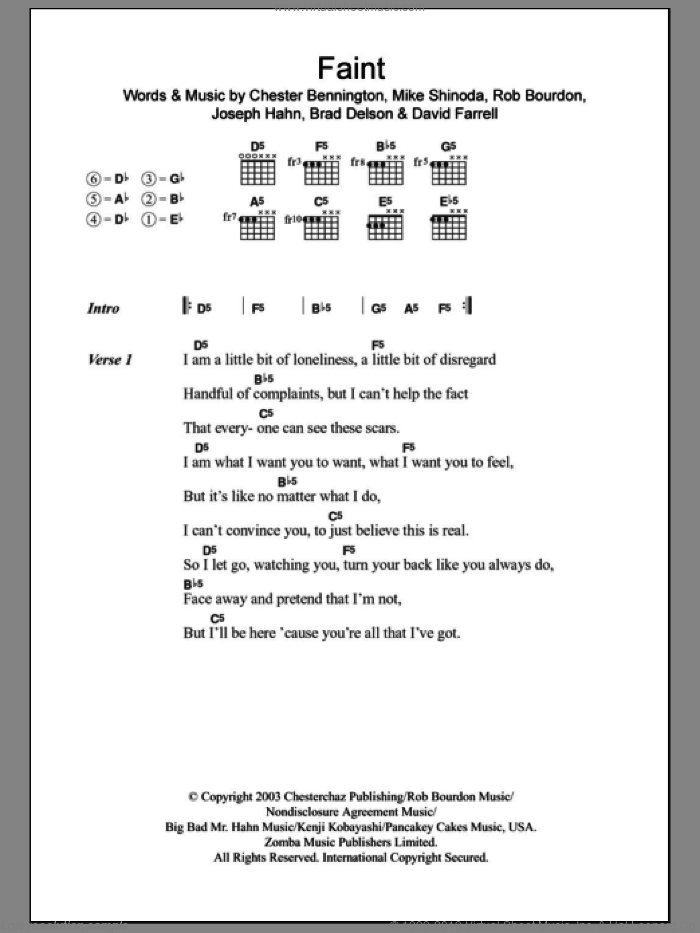 Park - Faint sheet music for guitar (chords) [PDF]