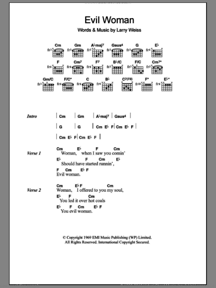 Evil Woman sheet music for guitar (chords) by Spooky Tooth and Larry Weiss, intermediate