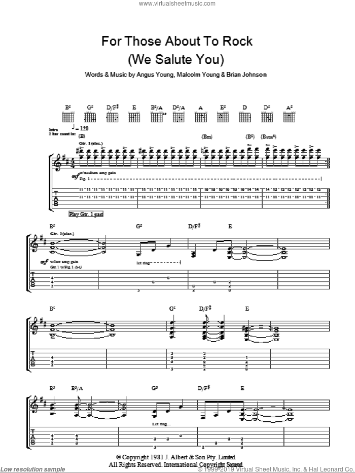 For Those About To Rock (We Salute You) sheet music for guitar (tablature) by Malcolm Young