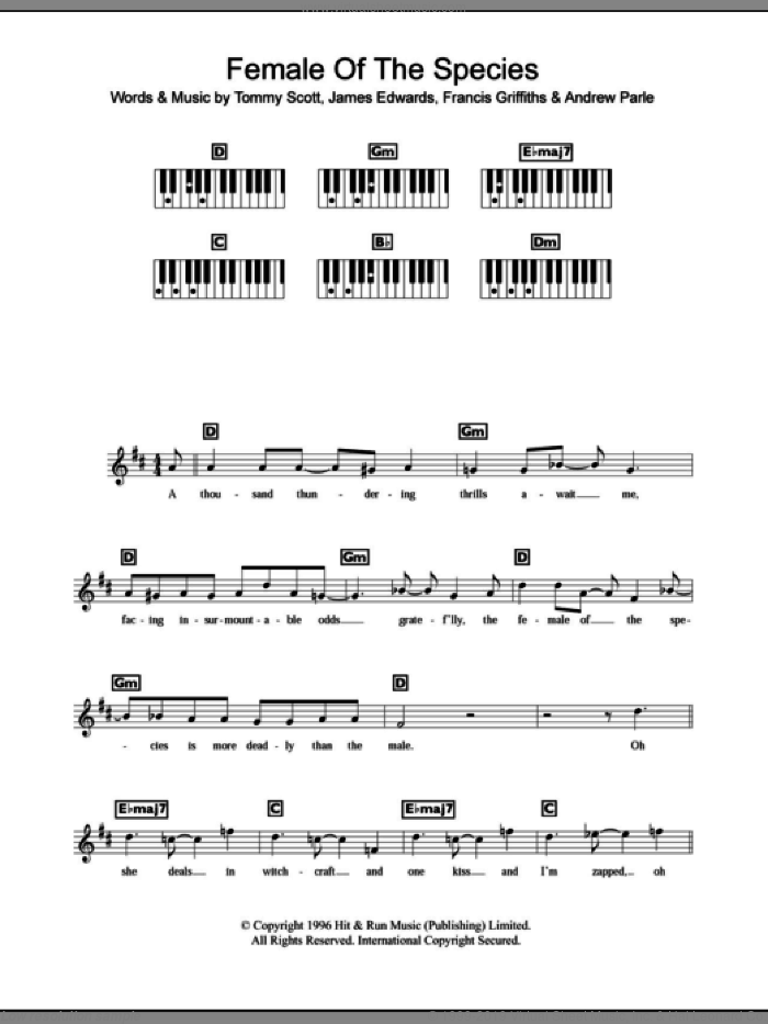 Female Of The Species sheet music for piano solo (chords, lyrics, melody)  and James Edwards. Score Image Preview.