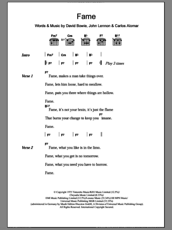 Fame sheet music for guitar (chords) by David Bowie and John Lennon, intermediate. Score Image Preview.