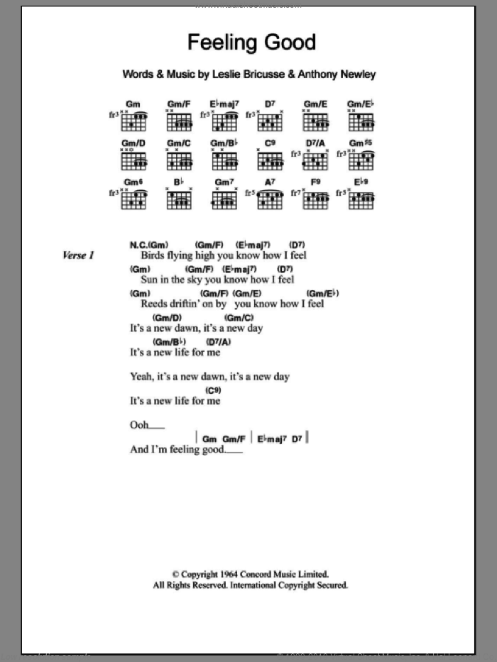 Feeling Good sheet music for guitar (chords) by Nina Simone, Anthony Newley and Leslie Bricusse, intermediate guitar (chords). Score Image Preview.
