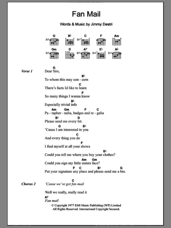 Fan Mail sheet music for guitar (chords) by Jimmy Destri and Blondie. Score Image Preview.