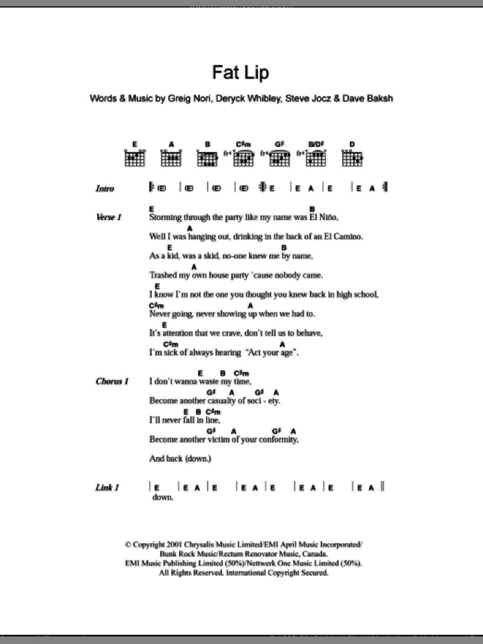 Fat Lip sheet music for guitar (chords) by Steve Jocz, Sum 41, Deryck Whibley and Greig Nori. Score Image Preview.