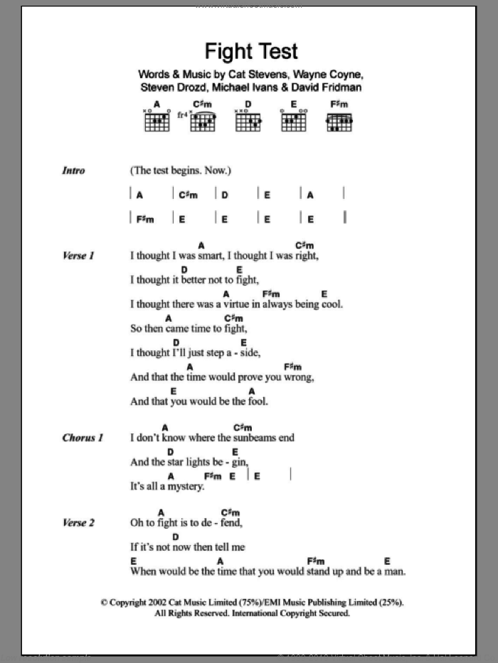 Fight Test sheet music for guitar (chords) by The Flaming Lips, Cat Stevens, David Fridman, Michael Ivans, Steven Drozd and Wayne Coyne, intermediate skill level