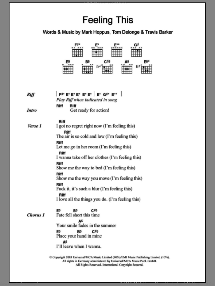 Feeling This sheet music for guitar (chords) by Travis Barker, Blink-182, Mark Hoppus and Tom DeLonge. Score Image Preview.