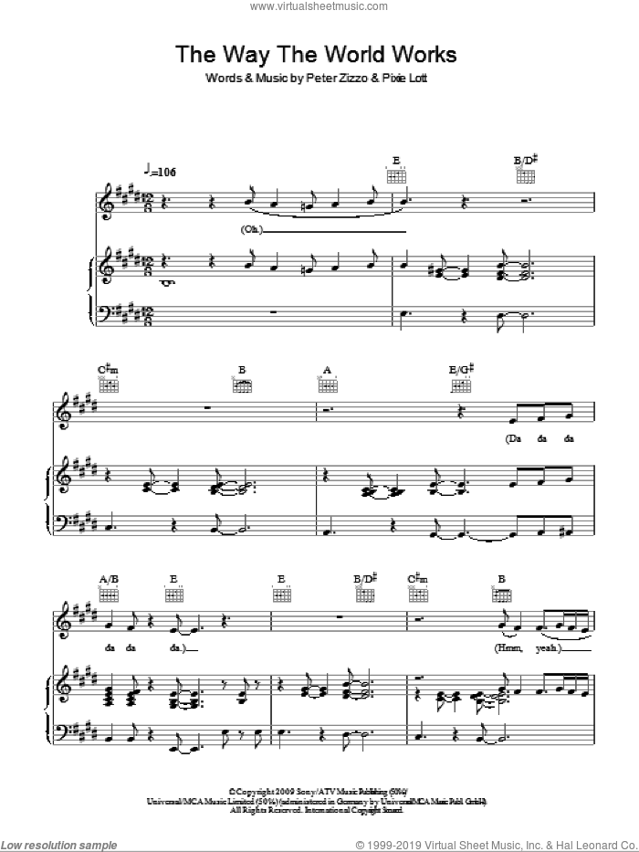 The Way The World Works sheet music for voice, piano or guitar by Peter Zizzo and Pixie Lott. Score Image Preview.