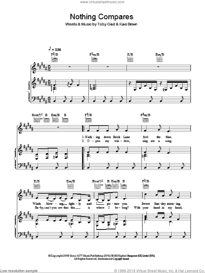 Nothing Compares sheet music for voice, piano or guitar by Pixie Lott, Kaci Brown and Toby Gad, intermediate. Score Image Preview.