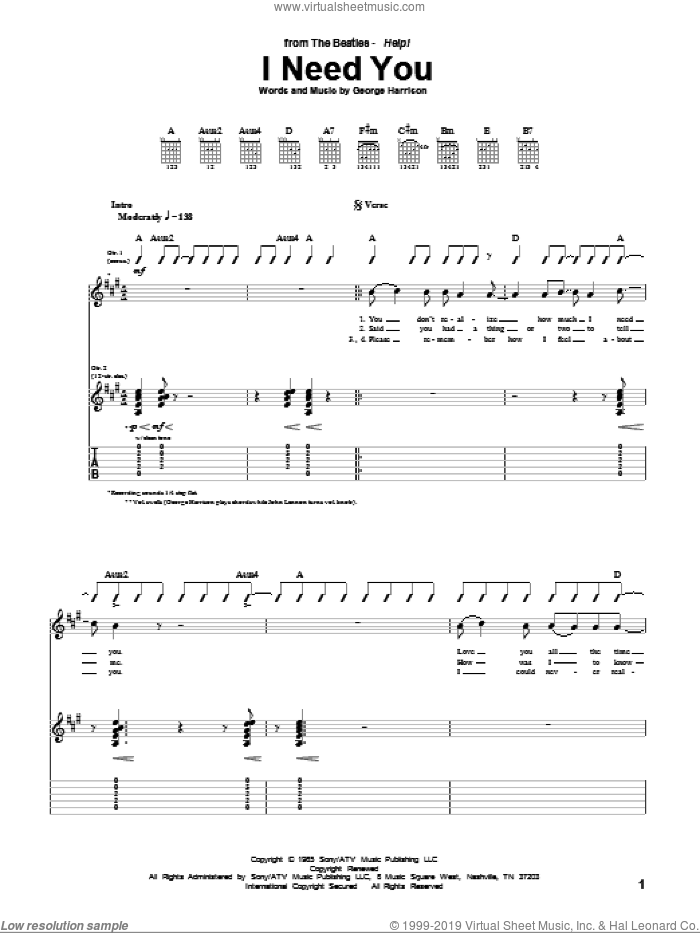 I Need You sheet music for guitar (tablature) by The Beatles and George Harrison, intermediate guitar (tablature). Score Image Preview.