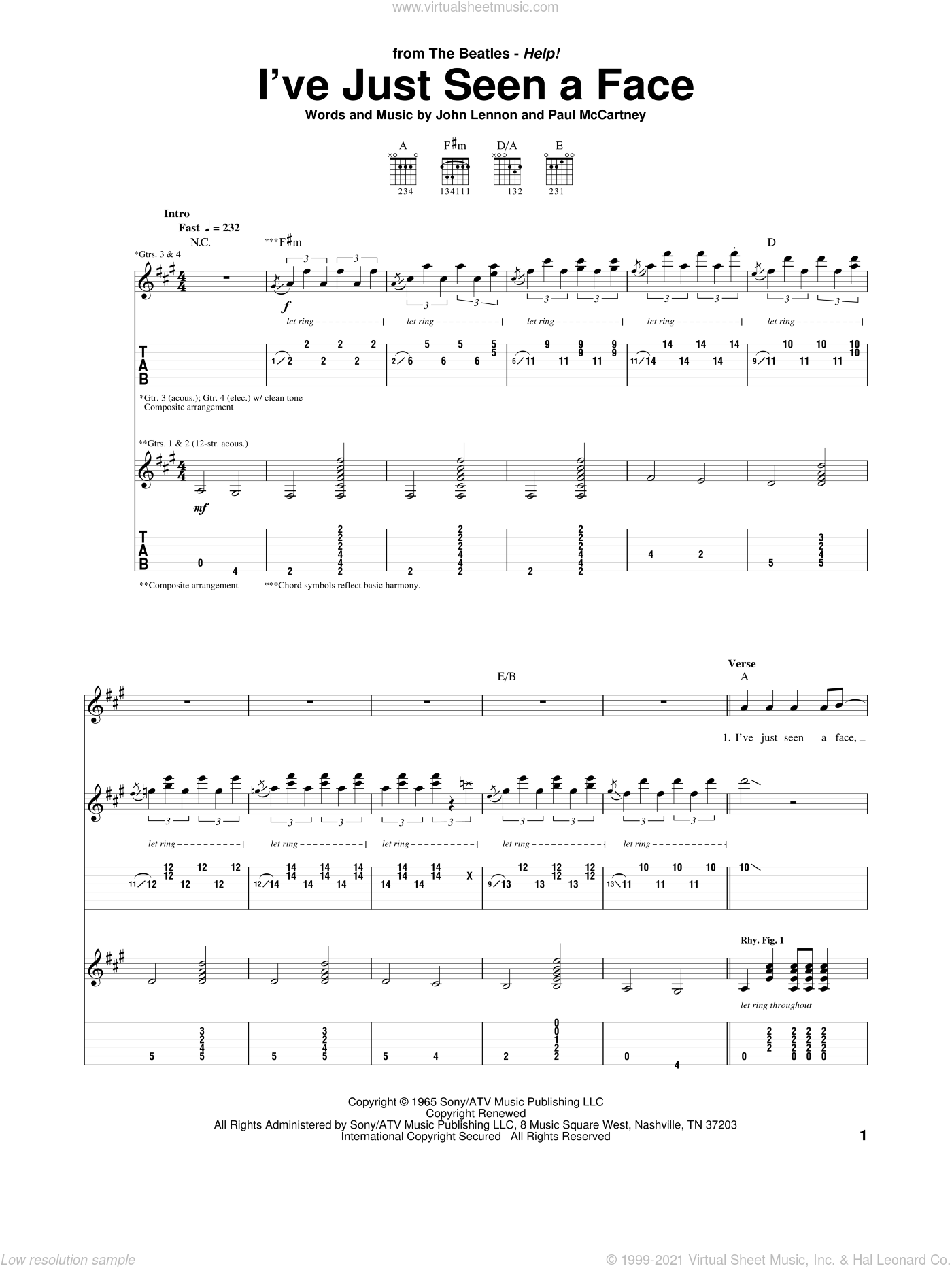 I've Just Seen A Face sheet music for guitar (tablature) by The Beatles, John Lennon and Paul McCartney. Score Image Preview.
