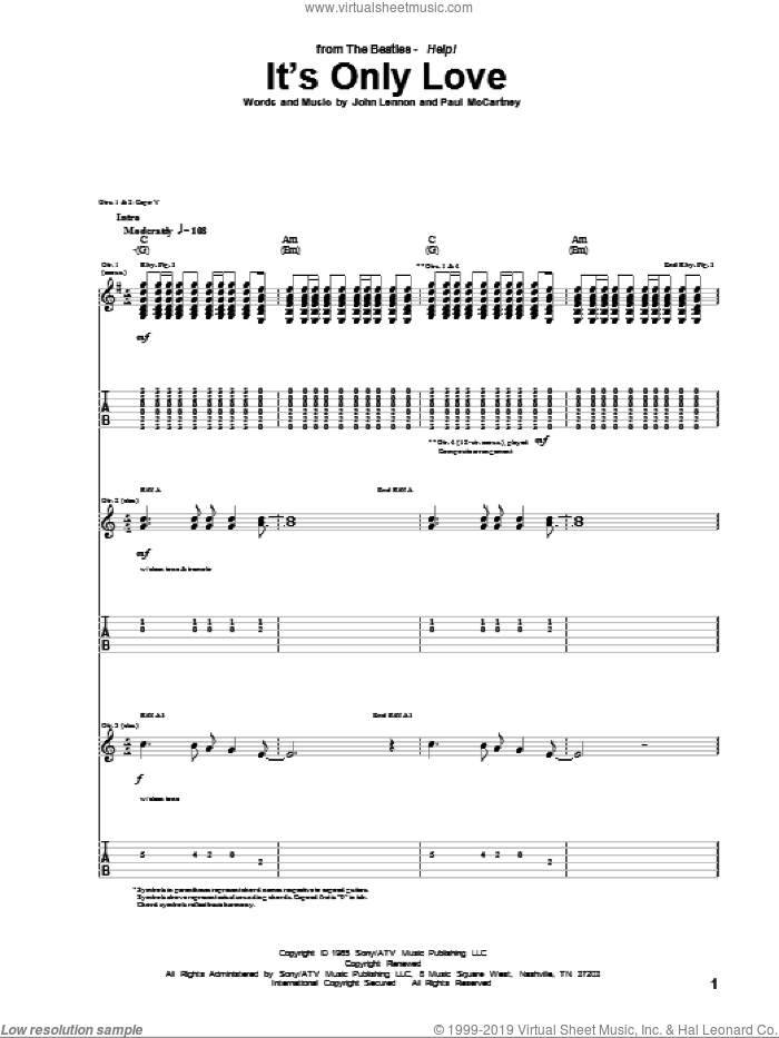 It's Only Love sheet music for guitar (tablature) by The Beatles, John Lennon and Paul McCartney, intermediate skill level