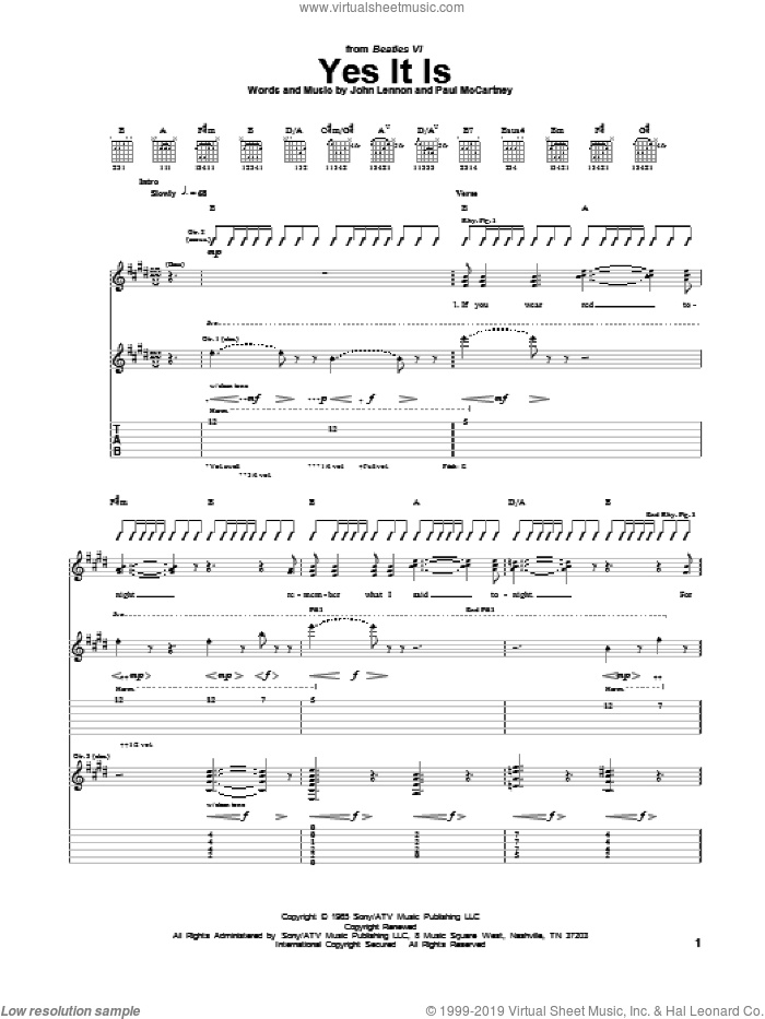 Yes It Is sheet music for guitar (tablature) by The Beatles, John Lennon and Paul McCartney, intermediate