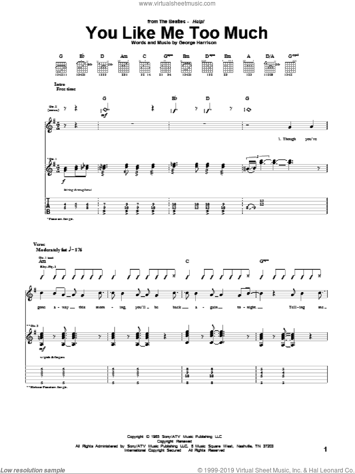 You Like Me Too Much sheet music for guitar (tablature) by George Harrison and The Beatles. Score Image Preview.