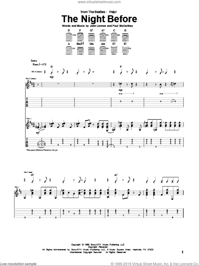 The Night Before sheet music for guitar (tablature) by The Beatles, John Lennon and Paul McCartney, intermediate guitar (tablature). Score Image Preview.