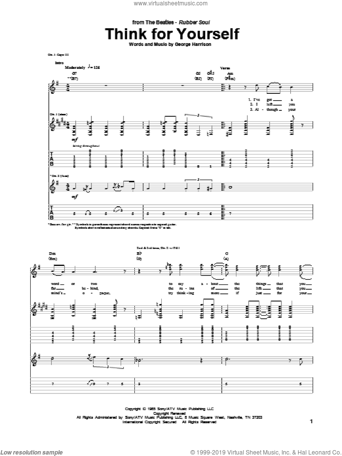 Think For Yourself sheet music for guitar (tablature) by George Harrison and The Beatles. Score Image Preview.