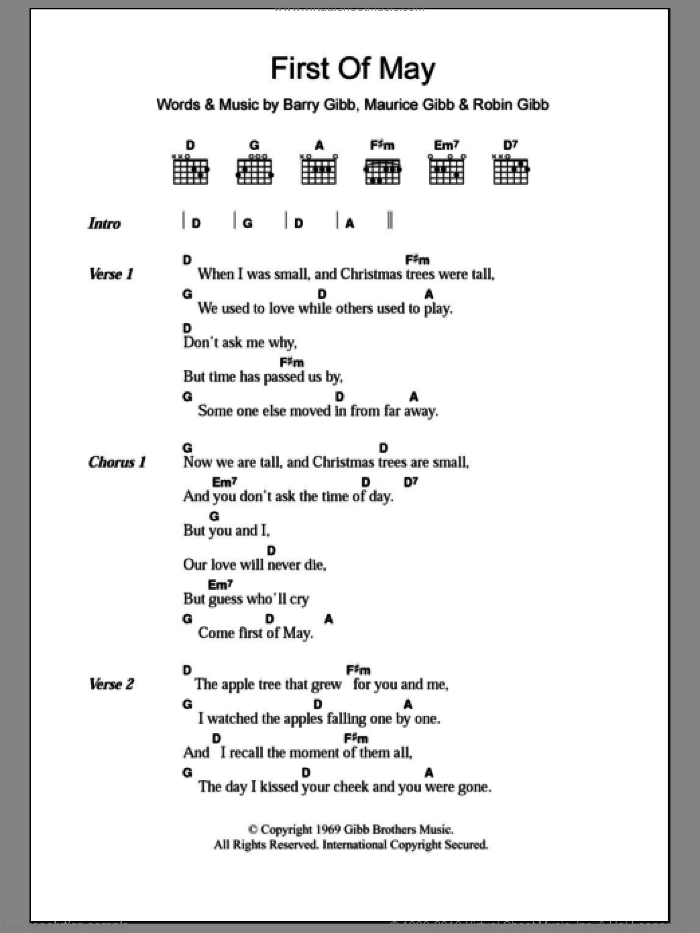 First Of May sheet music for guitar (chords) by Robin Gibb, Bee Gees, Barry Gibb and Maurice Gibb. Score Image Preview.