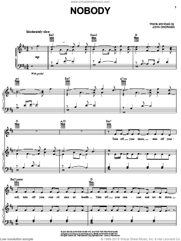 Nobody sheet music for voice, piano or guitar by John Ondrasik and Five For Fighting. Score Image Preview.
