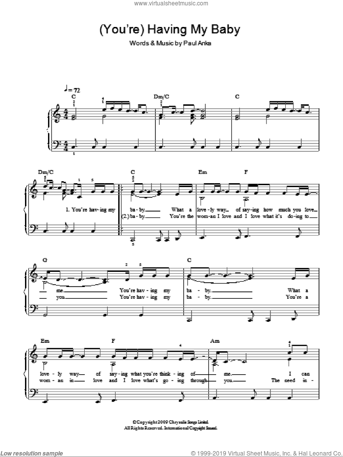(You're) Having My Baby sheet music for piano solo by Glee Cast, Miscellaneous and Paul Anka, easy skill level