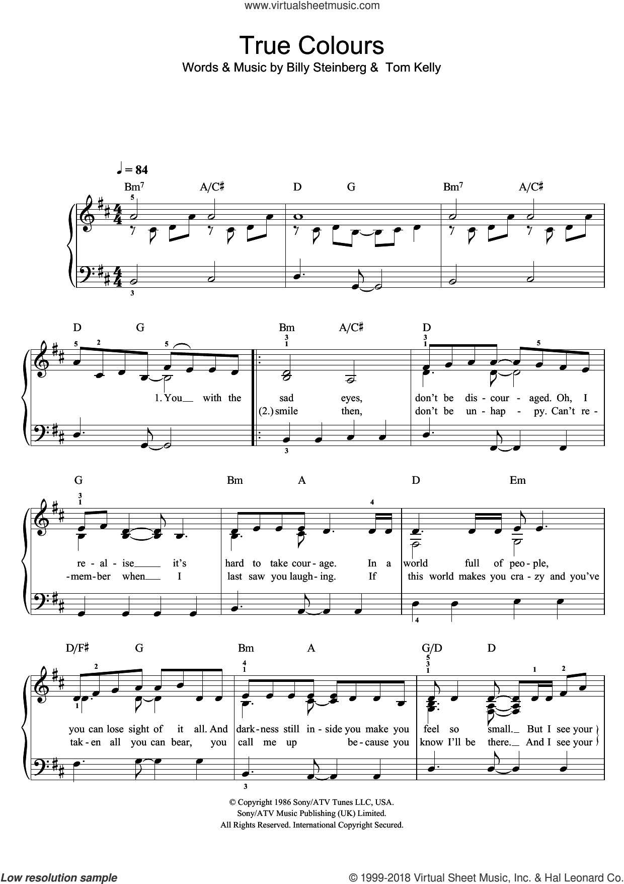 True Colors sheet music for piano solo by Tom Kelly