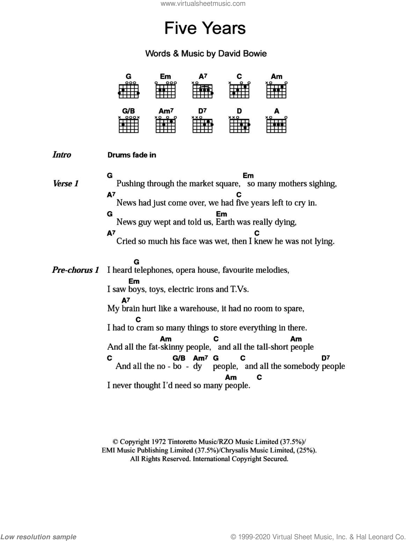 Bowie - Five Years sheet music for guitar (chords) [PDF]