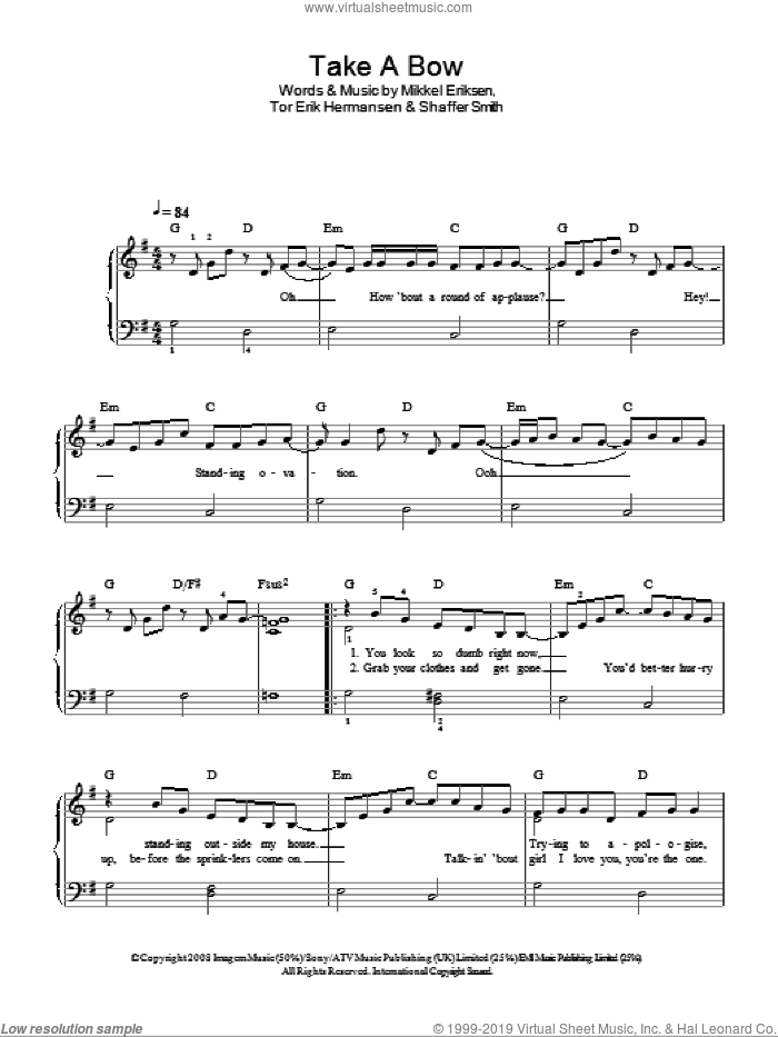 Take A Bow sheet music for piano solo by Glee Cast, Rihanna, Mikkel Eriksen, Shaffer Smith and Tor Erik Hermansen, easy piano. Score Image Preview.