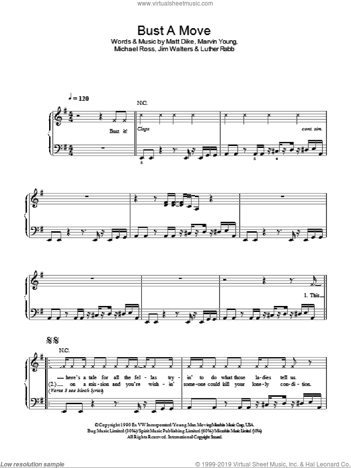 Bust A Move sheet music for piano solo by Michael Ross, Glee Cast, Miscellaneous and Matt Dike. Score Image Preview.