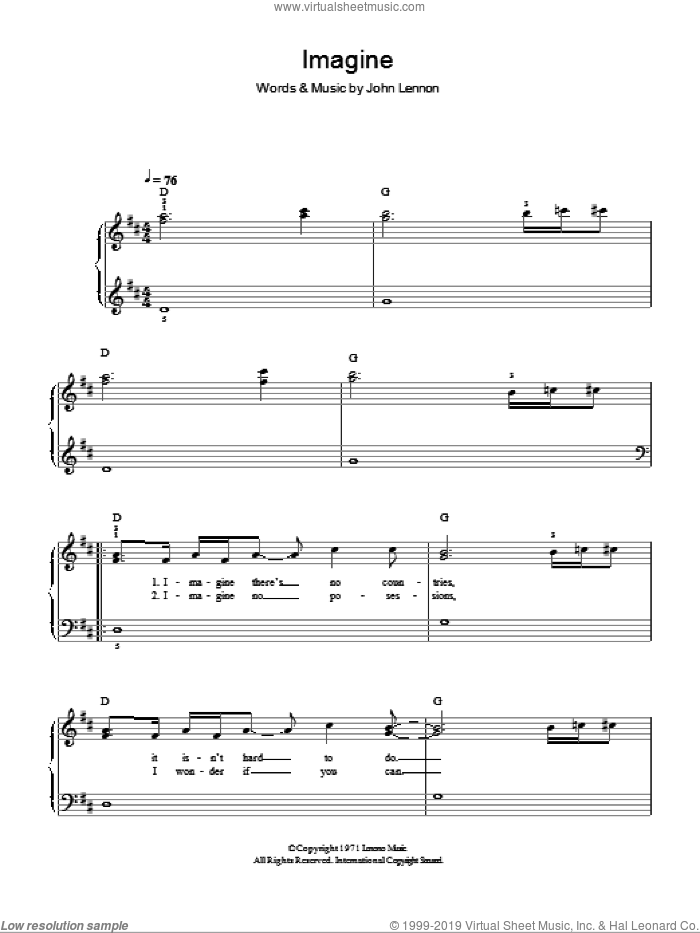 Imagine sheet music for piano solo by Glee Cast, John Lennon and Miscellaneous, easy skill level