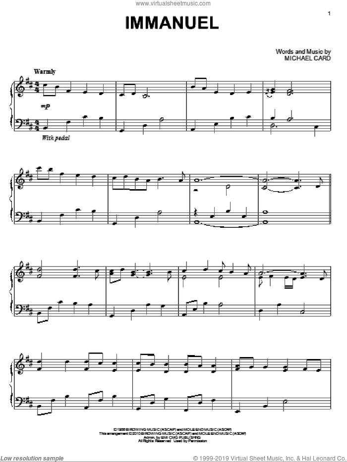 Immanuel sheet music for piano solo by Michael Card, intermediate skill level