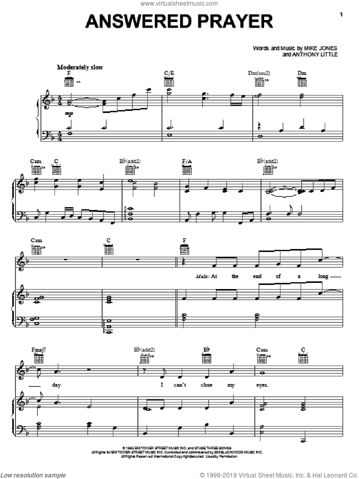 Answered Prayer sheet music for voice, piano or guitar by Anthony Little, intermediate. Score Image Preview.