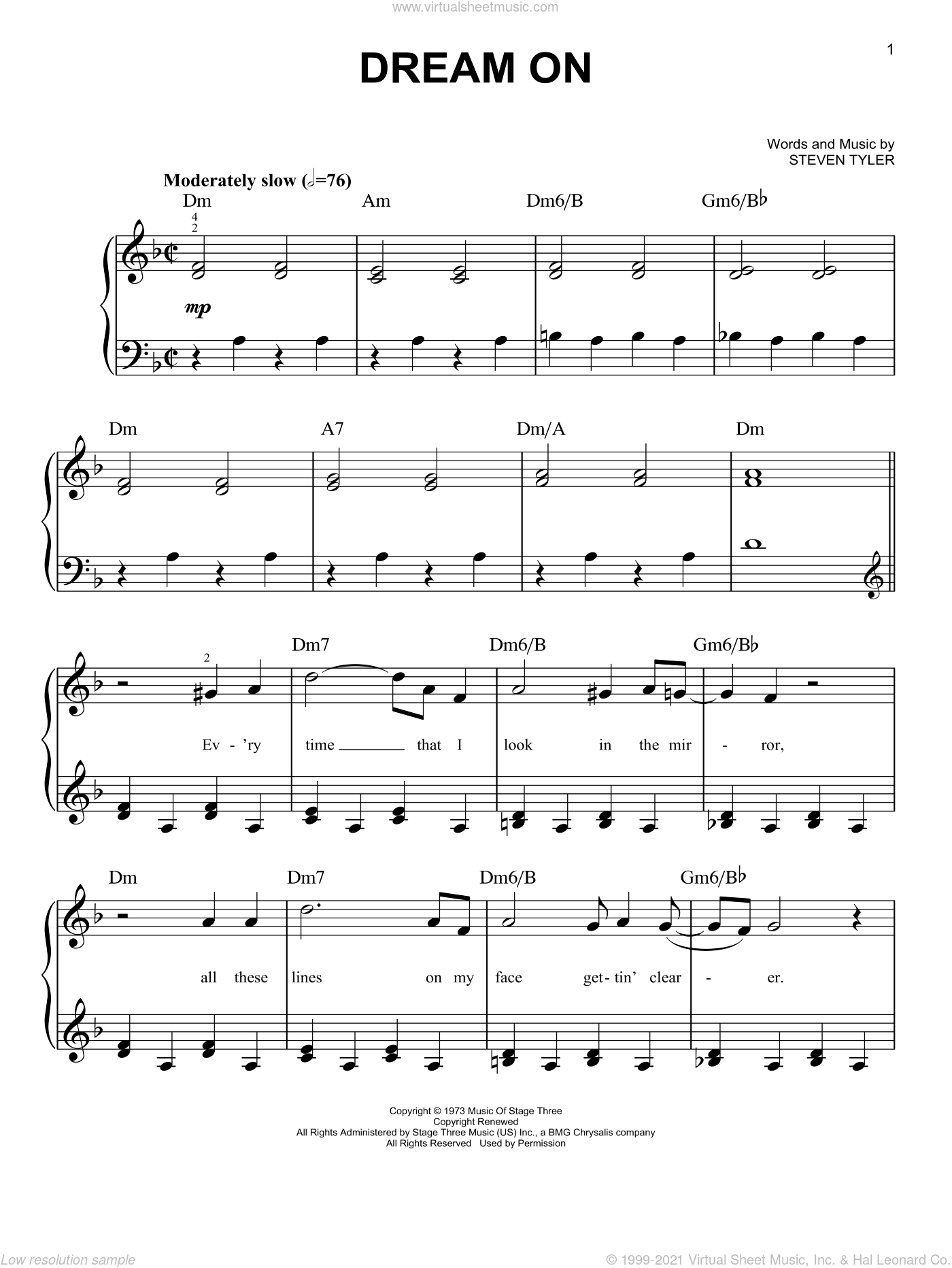 Dream On sheet music for piano solo by Aerosmith, Miscellaneous and Steven Tyler, beginner skill level