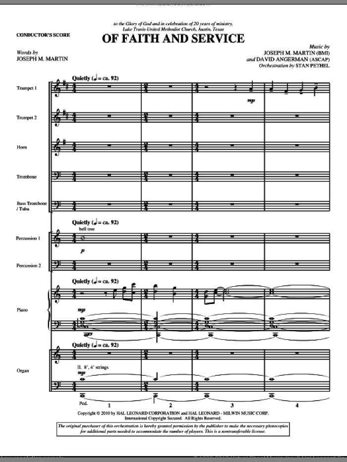 Of Faith And Service sheet music for orchestra/band (full score) by David Angerman