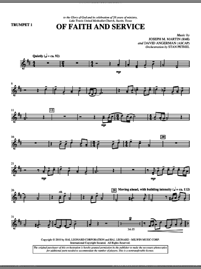 Of Faith And Service sheet music for orchestra/band (trumpet 1) by David Angerman