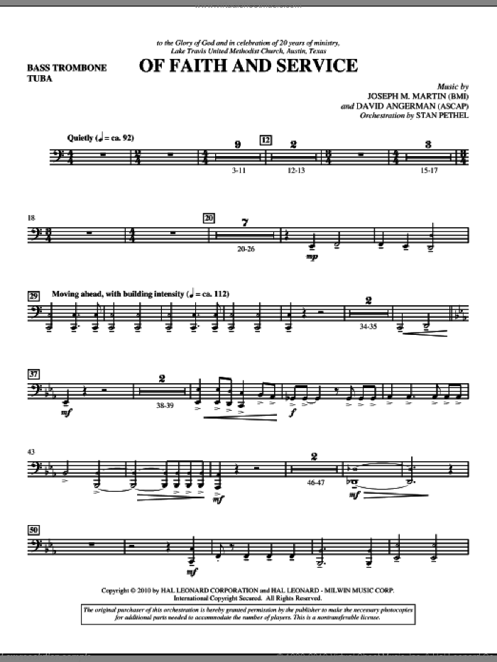 Of Faith And Service sheet music for orchestra/band (bass trombone/tuba) by David Angerman