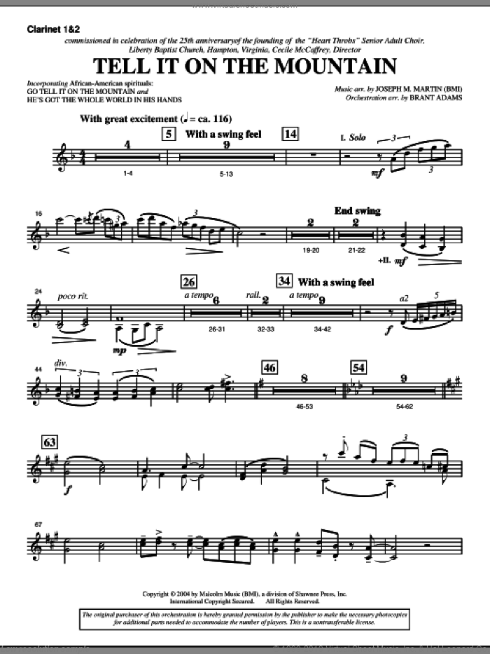 Tell It On The Mountain (from A World Of Christmas) sheet music for orchestra/band (Bb clarinet 1,2) by Joseph M. Martin