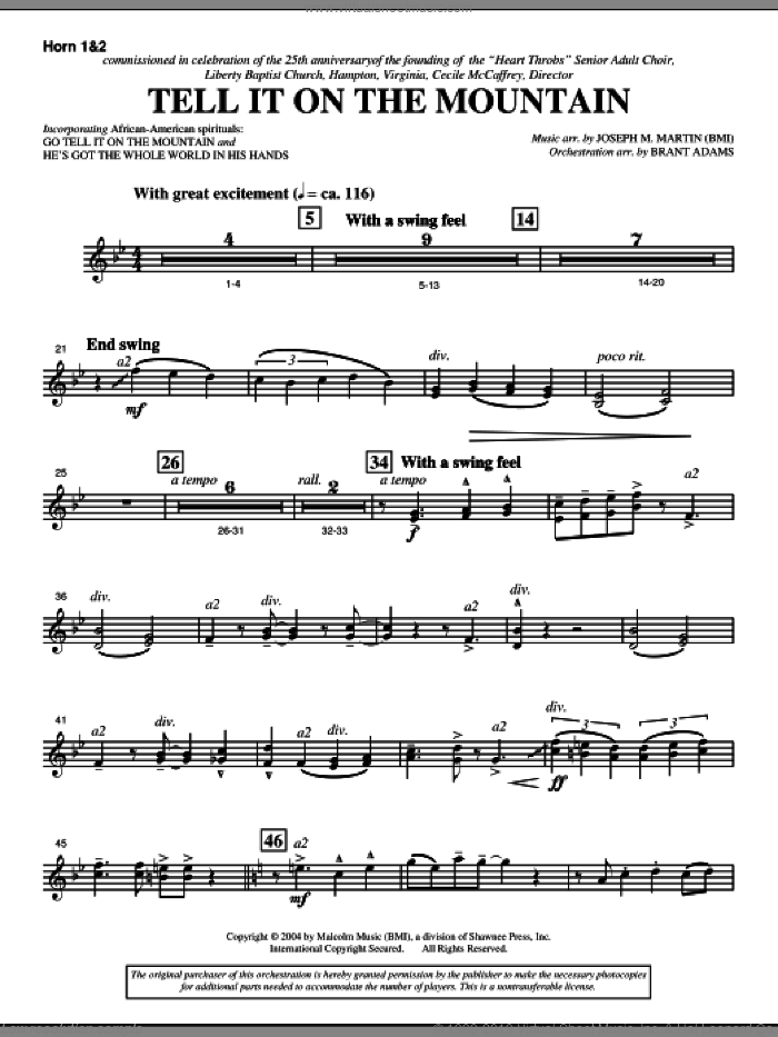 Tell It On The Mountain (from A World Of Christmas) sheet music for orchestra/band (f horn 1,2) by Joseph M. Martin