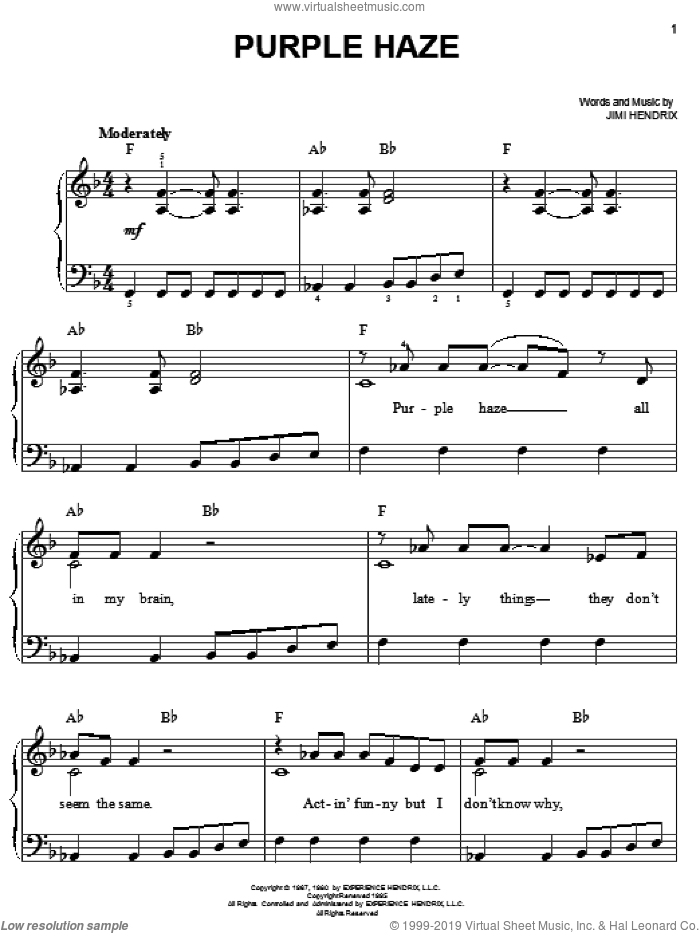 Purple Haze sheet music for piano solo by Jimi Hendrix. Score Image Preview.