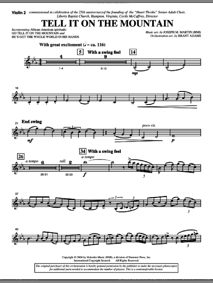 Tell It On The Mountain (from A World Of Christmas) sheet music for orchestra/band (violin 2) by Joseph M. Martin