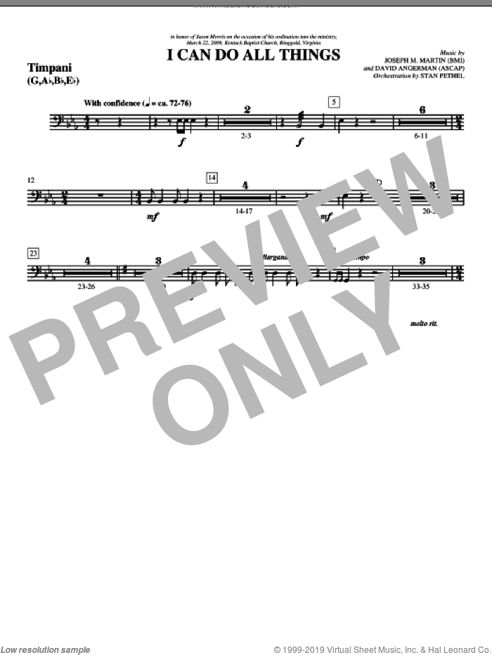 I Can Do All Things sheet music for orchestra/band (timpani) by David Angerman