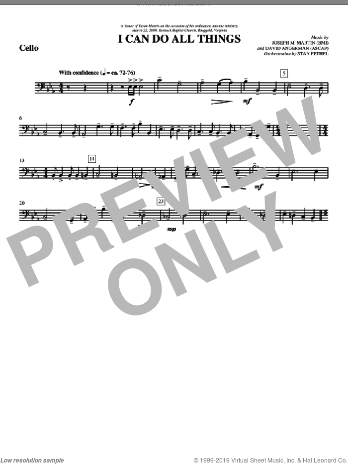 I Can Do All Things sheet music for orchestra/band (cello) by David Angerman
