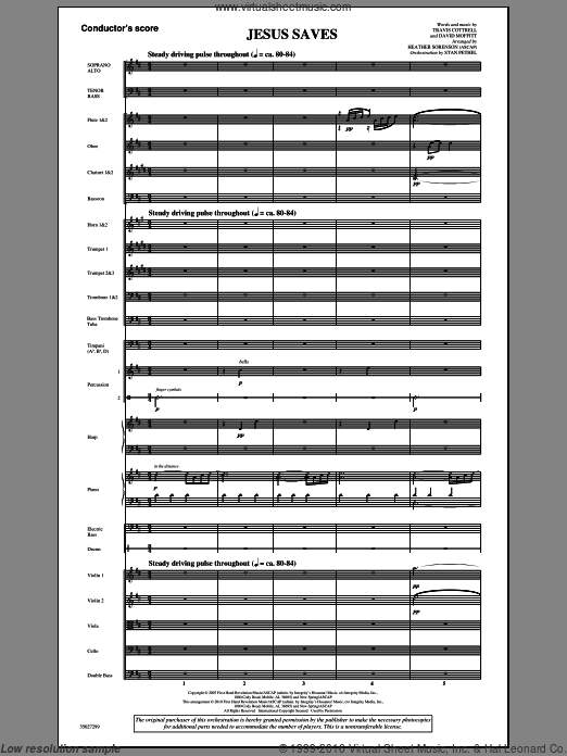 Jesus Saves (COMPLETE) sheet music for orchestra by Travis Cottrell and Heather Sorenson, intermediate orchestra. Score Image Preview.