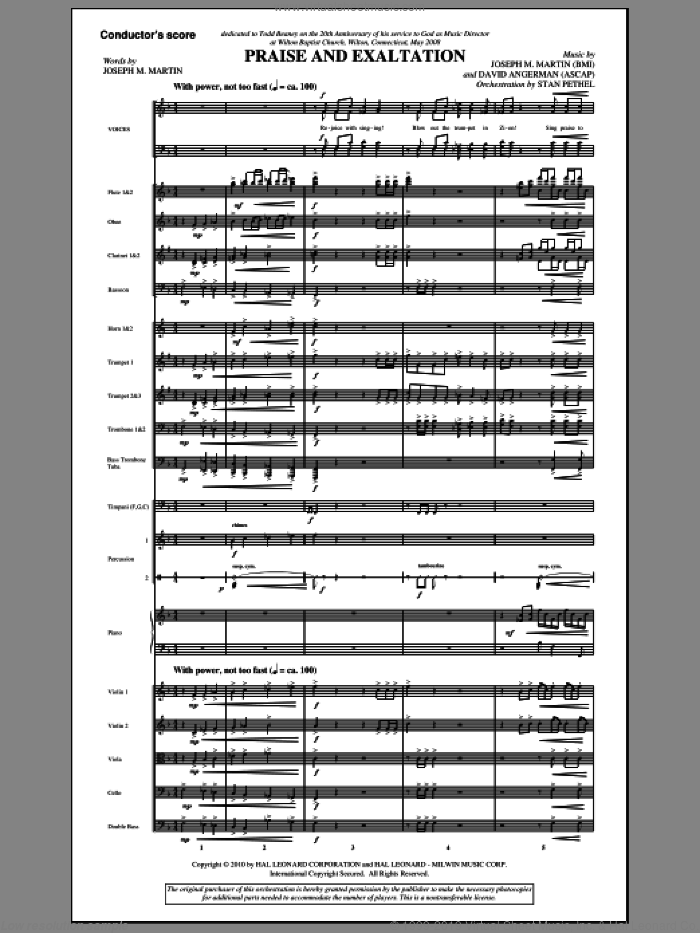 Praise And Exaltation sheet music for orchestra/band (full score) by David Angerman