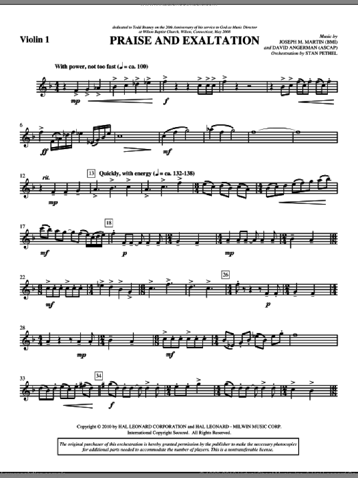 Praise And Exaltation sheet music for orchestra/band (violin 1) by David Angerman