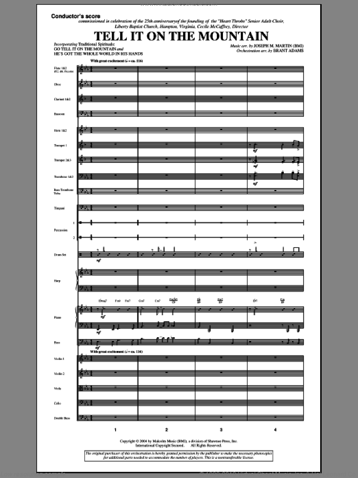 Tell It On The Mountain (from A World Of Christmas) (COMPLETE) sheet music for orchestra/band (Orchestra) by Joseph M. Martin, Christmas carol score, intermediate orchestra. Score Image Preview.